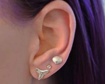 Tiny Seashell Stud Earrings - Sterling Silver - Tiny Stud Earrings - Mermaid - Beach Lover - Tiny Seashells