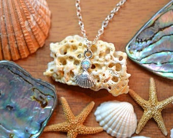 Opal Seashell Necklace - Sterling Silver, Small Seashell