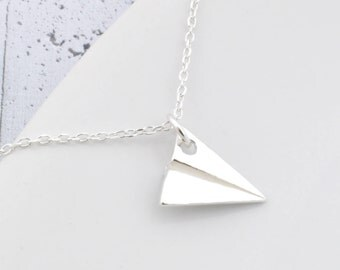 Sterling Silver Plane Necklace, Silver Plane, Plane pendant, necklace Plane, Plane, Plane origami, origami, origami silver, origami necklace