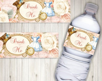 Alice in Wonderland Drink Me Bottle Labels - Digital, Printable,Party,Wedding, Party Labels, Water Labels