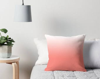 Coral Ombre Pillow, Coral White Pillow, Coral Throw Pillow, Coral White Ombre Pillow, Coral Bedroom, Coral Pillow Cover, Coral Bedding