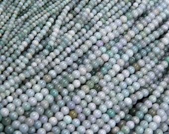 "Natural Soft Green Burmese Jade Burma Jade 4mm Round Beads 6mm Round Beads 8mm Round Beads 10mm Round Beads 12mm Round Beads 16"" Strand"