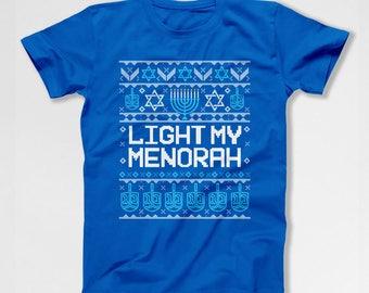 Ugly Holiday Shirt Jewish Gifts For Hanukkah T Shirt Holiday Clothes Chanukah Menorah Holiday TShirt Israel Clothing Star Of David TEP-613