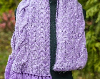 Lilac and white cable-knit scarf, wool winter scarf, lilac oblong scarf, cozy & warm wool knitted aran scarf, hand-knitted lilac scarf