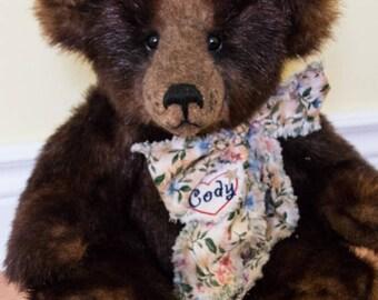 """Cody, 16"""" OOAK Faux Fur Artist Teddy Bear by Patricia Bruce Bears"""