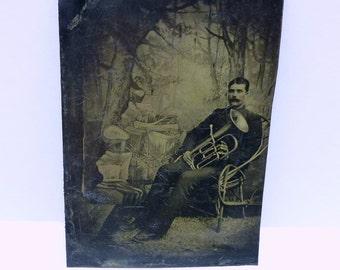 Antique tintype tuba player-old baritone photograph-vintage euphonium musician photo tin type