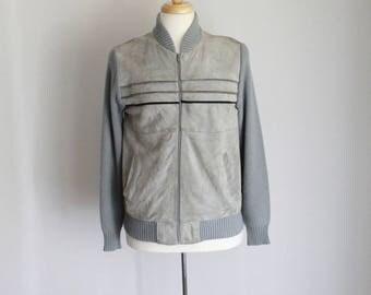 Rad Vintage Grey & Black Suede Wool Zip Up Cardigan