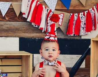Boys Cake Smash Outfit - Baseball - Diaper Cover, Bow Tie,susperders & Birthday Hat - Birthday Set