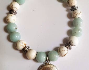 Amazonite & Magnesite Stretch Bracelet