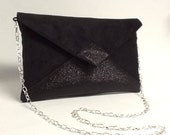 Evening bag in  black suedette and black spangles with shoulder strap in silver chain