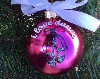 """Ballet Slippers Christmas Ornament - Personalized Ballet Shoes Ornament - """"I love dance"""""""