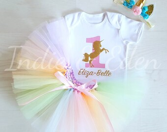 Unicorn tutu baby birthday outfit pastel rainbow girls 1st one pastel babysuit birthday personalised set photo prop cake smash