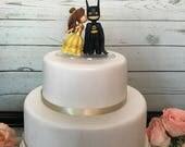 Belle Kissing Batman Wedding Cake Topper  [REF 01]