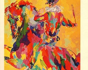 "Original Vintage Leroy NEIMAN Print Book Plate ""Harlequin on Horseback"""