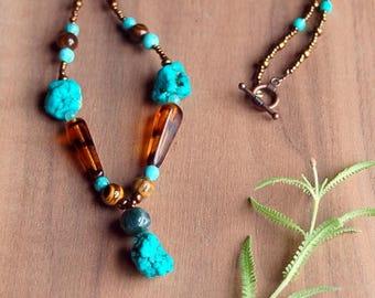 Chunky Turquoise, Tiger's Eye, Boho Nekclace, Beaded Necklace