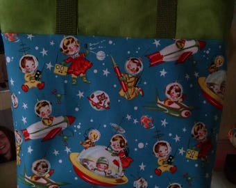 Childrens Library Tote Bag Retro Rocket Library Bag Preschool Bag