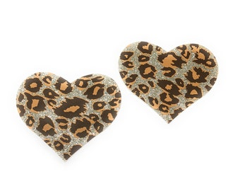 Cheetah Heart Nipple Pasties Cover  1 pair Nipple Covers  BOGO Free