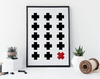 Swiss Cross, Plus Print Wall Art, Swiss Cross Wall Art, Scandinavian Design Print Black White Print Modern Wall Art, Minimalist Wall Decor