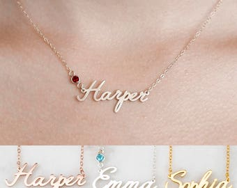 Custom Name Necklace with Birthstone • Dainty Name Necklace • Children Necklace • Tiny Name Charm • Bridesmaid Gift • Mother Gift • NH04F29