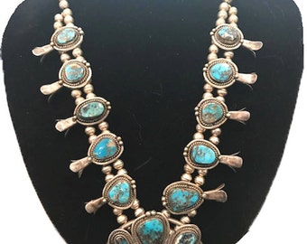 Estate Vintage Sterling Silver With Real Turquoise Stones Authentic Navajo 29'' Necklace