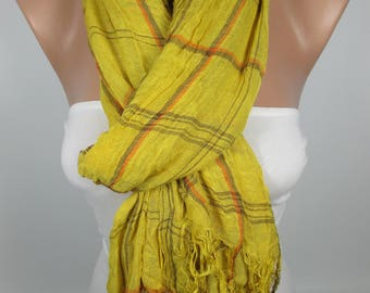 Mustard Scarf Plaid Scarf Crinckle Scarf Four Seasons Scarf Women Fashion Accessories Gift Ideas For Her Christmas Gifts Holiday Fashion