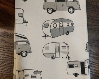 Fat Quarter Fabric, Camping Themed Fabric, RV Accessories, VW Westfalia, Motorhome, Sample Canvas Fabric, DIY Upholstery Volkswagen Craft