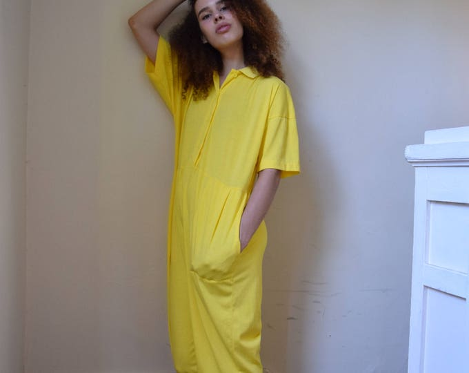 banana yellow cotton jumpsuit | pick you print ++  SALE ++