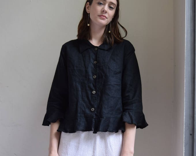 Pia Black Linen Shirt    Available With or Without Print.