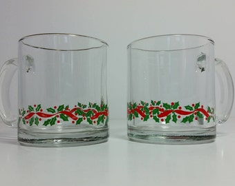 "Set of 2 Vintage ""Holly Berry Swag"" Clear Glass Mugs Cups Arby's Promotional by Libby"