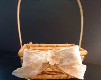 Rustic flower girl basket. Flower girl basket. Lace & Burlap basket