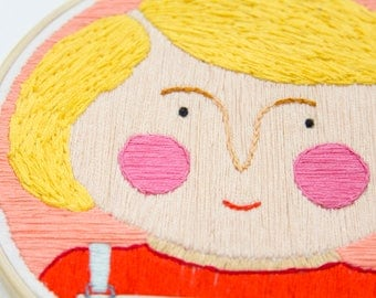 Embroidered illustration, Portrait of a blonde girl | Hand stitched