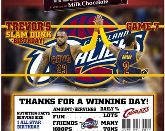 Printable Cleveland Cavaliers Candy Bar Wrappers Basketball Birthday Bar Mitzvah Hershey Chocolate Party Favors Lebron James Kyrie Irving