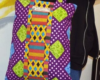African Tote Bag, African Textile Tote Bag, Purple Tote Bag, African Shoulder Bag, Toe Bag Shopping Bag, Ladies Bag, Handmade Bag, Tote Bag