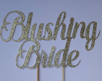 Blushing bride cake topper, bridal shower cake topper