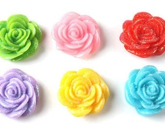 Resin Rose Flower Cabochons, Rose Cabochons, Flower Cabochons, Flatback Rose Cabochons, Flatback Flower Cabochons, Rose Charms, Rose Beads