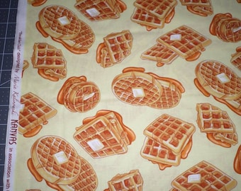 "WAFFLES BREAKFAST FOOD fabric by the yard, fq+, Benartex fabric, 100% cotton fabric, waffles fabric, ""Breakfast Club"" fabric, Kanvas fabric!"