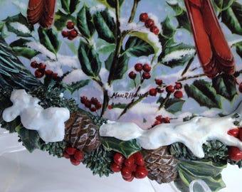Winter Scenery Bird Art, 3D Frame Marc Hanson Vintage Bradford Cardinal Plate Cardinal Collection Bradford Birdlover Gift Winter Cheer