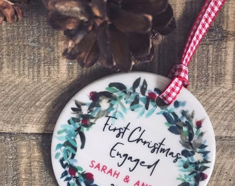 Personalised First Christmas Engaged Christmas Decoration Wreath...Round Ceramic ... - Tree Decoration - Ornament