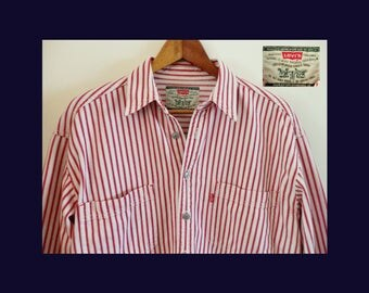 90s LEVI'S Railroad Denim White Red Striped Metal Button Shirt~Red Tab~Minty~1990s Vintage Levi Strauss Jeans~EUC~Large/XL~