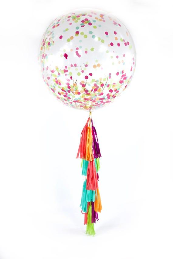 "36"" Tropical Tango Balloon, Giant Clear Balloon, Confetti Balloon, Tassel Balloon, First Birthday Wedding Bridal Baby Shower Tropical Decor"