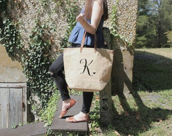 Set of Monogrammed Tote Bags | Bridesmaid Gifts Burlap Tote Bags | Large Tote Bags | Monogram | Bridesmaid Tote Bags | Personalized
