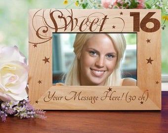 16th Birthday Engraved Wood Frame, Sweet 16 Personalized Photo Frame, Personalized 16th Birthday Picture Frame