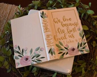 Hand Painted Bibles | Wedding Guest Book Alternative | Home Decor Keepsake