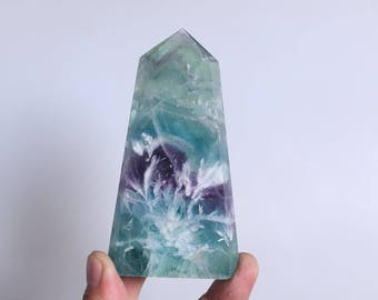 Rare Fluorite Flowers ,Fluorite Flowers Point,Fluorite Flowers Growth Within The White Fluorite,Fluorite Wand Point Healing J935