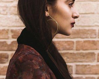 XXL Hoop earrings. Gold plated earrings. Modernist and Minimalist. Endless Spiral. Handmade.