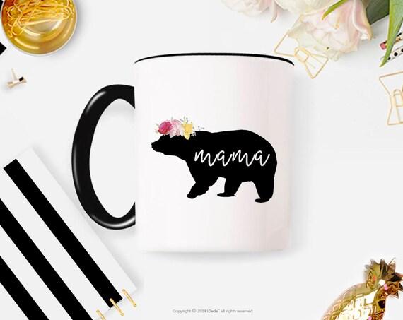 Baby Shower Gift Mama Bear Floral Mama bear mug Mama bear established Mother's Day gift Mother's Day New mom coffee mug mug coffee cup 34MM