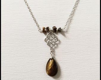 Tiger eye stone pendant, tiger eye necklace, tiger eye stone jewelry