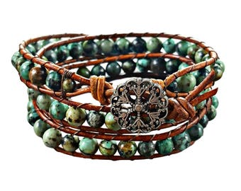Turquoise Bracelet, Turquoise Jewelry, Beaded Bracelet, Wrap Bracelet, African Turquoise Bracelet, Leather Bracelet, Boho Jewelry