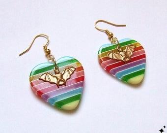 Rainbow Heart and Bat Earrings - striped, bat gift, stripey, colourful, kitsch heart earrings, bat jewelry, dangle earrings