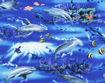 Blue Ocean Fabric Hawaii Marine Life Cotton Quilting Fabric HCN10191, Ask for Bulk